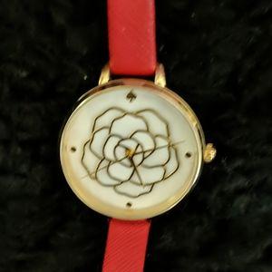 Kate Spade Metro Rose Red Leather Watch